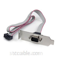 1 Port 16in DB9 Serial Port Bracket to 10 Pin Header - Low Profile