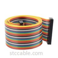 2.54mm 34 Pin 34 Way Connector IDC Flat Rainbow Ribbon Cable 55 inch