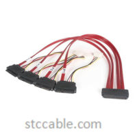 50cm Serial Attached SCSI SAS Cable – SFF-8484 to 4x SFF-8482 with LP4 Power
