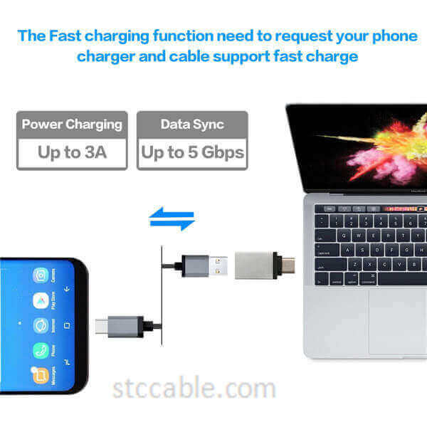 USB-C Male to USB-A Female Converter Hi-speed 3.0 OTG Connector